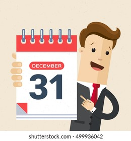 Businessman or manager hold a calendar on his hand. 31 of December, New Year. Vector, illustration, flat