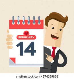 Businessman or manager hold a calendar on his hand. 14th of February, Valentine's Day. Vector, illustration, flat