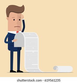 businessman or manager, hold a long list or scroll of tasks. or questionnaire. Illustration, vector