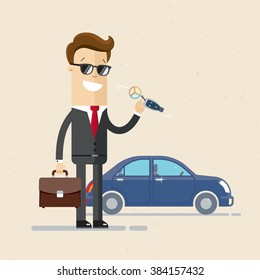 Businessman or manager  is holding a key of a new car. Happy, smile. Cartoon, Vector, Illustration, EPS 10