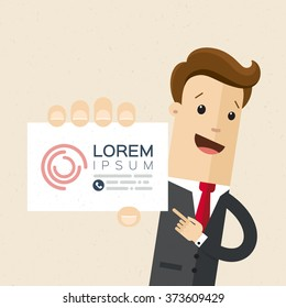 Businessman or manager. Illustration of business plan. A man in a suit shows a business card. Vector, EPS 10