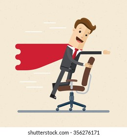 Businessman or manager like a superman on a office chair. Illustration, vector EPS 10.