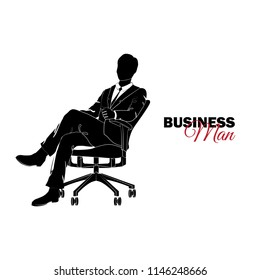 Businessman, Manager. A man in a business suit. Businessman sitting in a chair