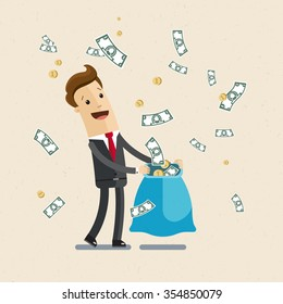 Businessman, manager. A man in a suit catching money in a sack. Illustration,  vector EPS10.