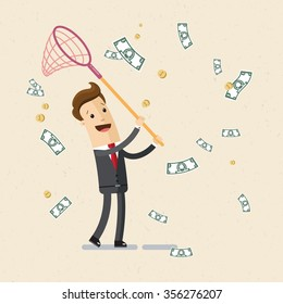 Businessman or manager. A man in a suit catching money by scoop-net. Illustration,  vector EPS10.