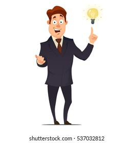 businessman or manager, man in a suit come up with an idea, cartoon character have an idea for startup, selling startup ideas, colorful vector illustration in flat style