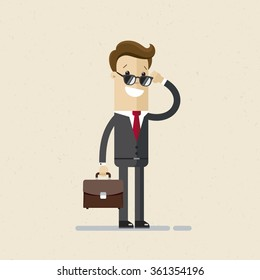 Businessman or manager. A man in a suit and sunglasses with a briefcase in his hand.  Illustration, vector, EPS10.
