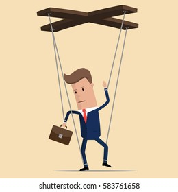 Businessman or manager marionette is hanging on ropes and controlled by hand. Worker marionette on ropes controlled .Vector illustration