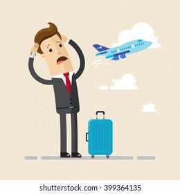 Businessman or manager missed a plane and very  upset. Illustration, vector, flat