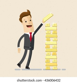 Businessman or manager plays Jenga with gold bars. Vector, flat, illustration
