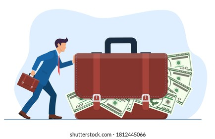 businessman or manager pushes a huge suitcase or briefcase with money. The concept of theft or bribery. Vector illustration in flat style.