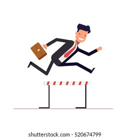 Businessman or manager runs on obstacle course with a briefcase in hand. Man jumping over the barrier. Achieving goal. Vector, illustration EPS10.