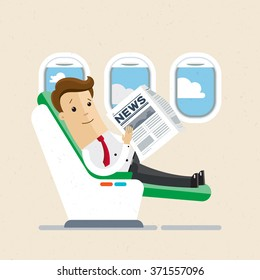 Businessman or manager  sitting in an airplane in business class. Comfort, vip. Vector illustration, EPS10