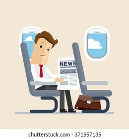 Businessman or manager sitting in an airplane in economy class, reading a newspaper. Vector illustration
