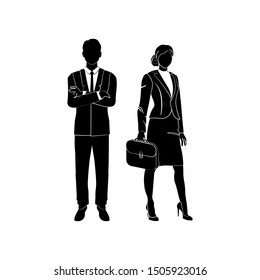 Businessman, manager standing with his arms crossed on his chest vector. Business woman standing with a case, a briefcase in hand. Vector illustration black on white background.