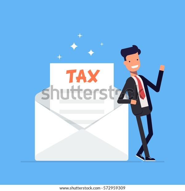 Businessman or manager stands by the letter from the tax form. Office worker character isolated on blue background. Vector, illustration EPS10.