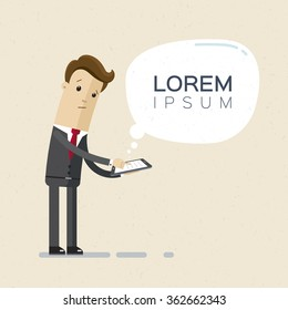 Businessman or manager with a tablet in his hand. Lorem ipsum. Illustration, vector, EPS 10