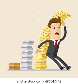 Businessman or manager is trying to keep falling pile of golden coins. Profit falling, crisis, inflation, business concept.  Vector, illustration, flat