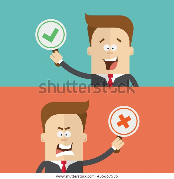 Businessman or manager vote using tablets for and against. True  false. Happy  angry man in a business suit. The  close up. Cartoon flat vector illustration.