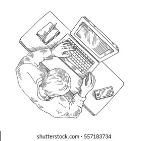 Businessman, manager working on computer, view from above, vector illustration, hand drawing, sketch