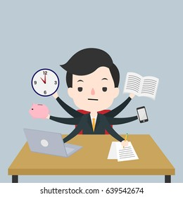 Businessman with many arms multitasking. Hard working man. Vector illustration graphic design.