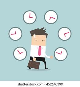 Businessman with many clocks. vector