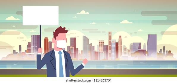 businessman in mask hold empty white sign board over nature air pollution city landscape plant pipe dirty waste water polluted environment atmosphere male portrait flat
