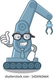 Businessman mechatronic robotic arm in mascot shape