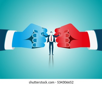 Businessman mediate with lawyer separating two fist glove opposing competitors as an arbitration success. Concept business illustration. Vector flat