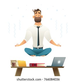 Businessman meditates and hovers over workplace. Concept of meditation. Yoga pose. Cartoon style vector illustration