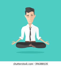 businessman meditates in lotus position. Harmony, relax, spiritual energy.  vector illustration in cartoon style. flat illustration.