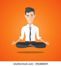 businessman meditates in lotus position. harmony, relax, spiritual energy, flat illustration in cartoon style. vector illustration