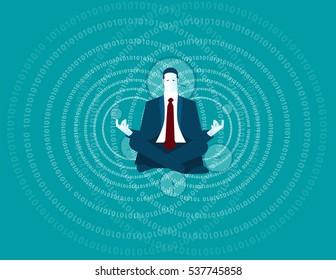 Businessman meditating. Concept business illustration. Vector flat