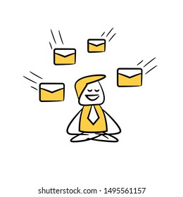 businessman meditating and ignore any emails for work happy concept yellow stick figure