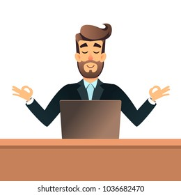 Businessman meditating in lotus pose for table in office with laptop. Business man get calm at workplace. Relax concept. Man rest in yoga asana. Peaceful after a hard work. Male ignoring work, no