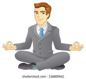 Businessman is meditating and relaxing in lotus pose. Business yoga. Vector illustration.