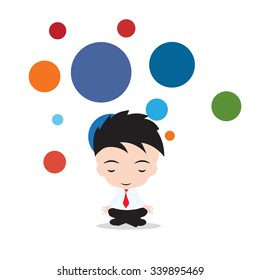 Businessman is meditating and relaxing in lotus pose Business yoga. Vector illustration, on white and bubble floating background