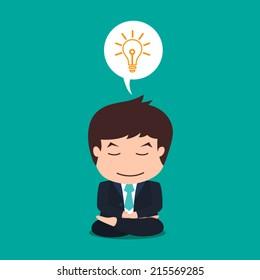businessman meditation good idea flat design cartoon eps 10 vector