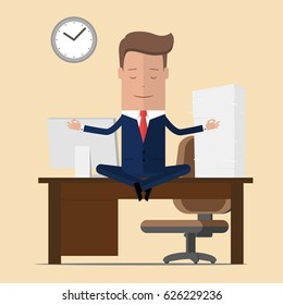 Businessman meditation in office. yoga at job. young man relaxing in lotus position on table with computer at work. Vector illustration