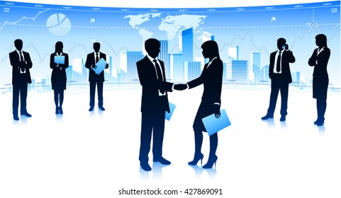 Businessman meet with businesswoman