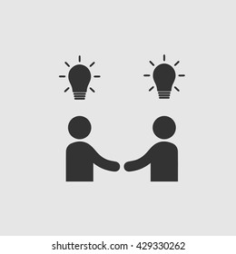Businessman meeting idea vector icon eps 10. Handshake with bulbs symbol. Business deal logo sign. Black and white simple isolated icon.