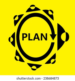 Businessman meeting for plan business on yellow background vector : business concept