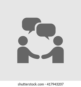 Businessman meeting vector icon. Chat bubble and handshake symbol. Business deal logo sign.