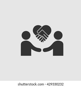 Businessman meeting vector icon. Handshake symbol forming heart. Business deal logo sign. Black and white simple isolated icon. Charity vector.