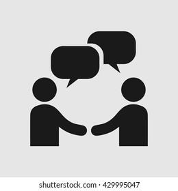 Businessman meeting vector icon. Handshake symbol. Hands shaking vector. Business deal logo sign.