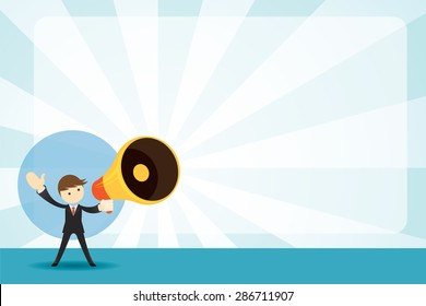 Businessman with Megaphone Announcement Background, Commercial Promotion Event Poster and other AD
