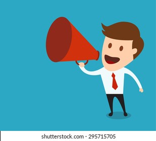 businessman with a megaphone, Business concept vector illustration