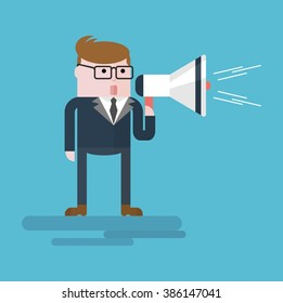 Businessman with a megaphone. Important message.Conceptual image of a businessman character. Cartoon flat vector illustration. Objects isolated on a background.