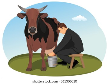 Businessman is milking the cash cow by hand. A stable source of revenue. Taxes.
