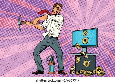 businessman is mining bitcoins from your computer. Cryptocurrency and electronic money. Pop art retro comic book vector illustration
